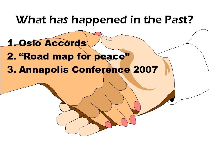"What has happened in the Past? 1. Oslo Accords 2. ""Road map for peace"""
