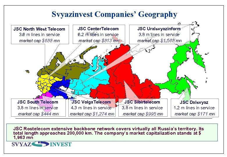 Svyazinvest Companies' Geography JSC Center. Telecom 6. 2 m lines in service market cap