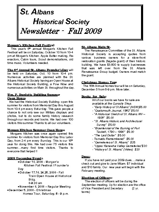 St. Albans Historical Society Newsletter - Fall 2009 Morgan's Kitchen Fall Festival This year's
