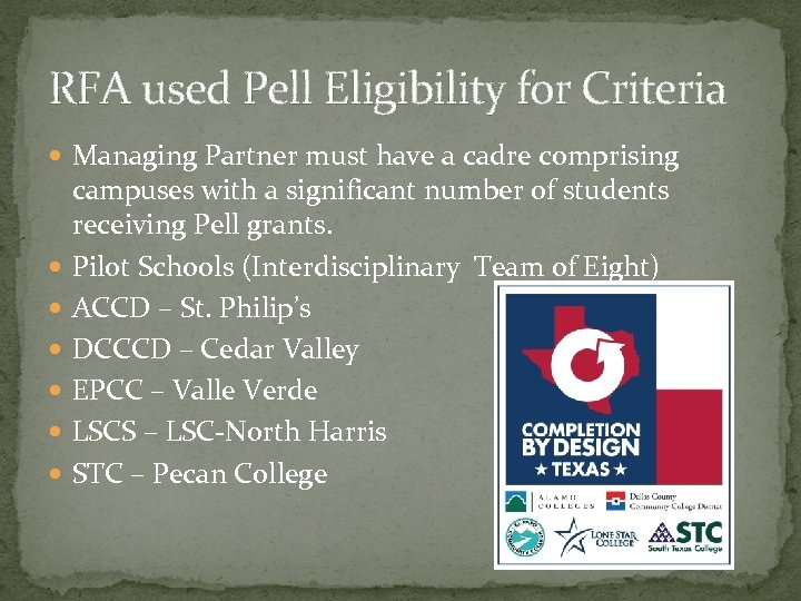 RFA used Pell Eligibility for Criteria Managing Partner must have a cadre comprising campuses