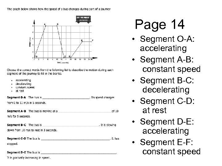 Page 14 • Segment O-A: accelerating • Segment A-B: constant speed • Segment B-C: