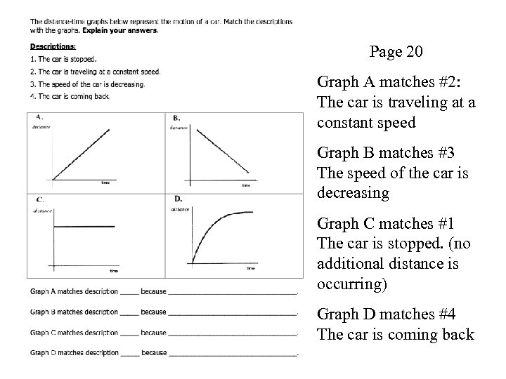 Page 20 Graph A matches #2: The car is traveling at a constant speed