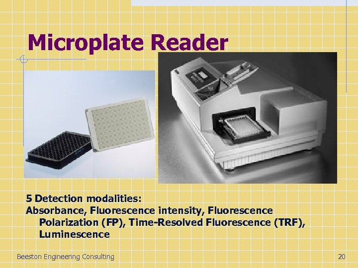 Microplate Reader 5 Detection modalities: Absorbance, Fluorescence intensity, Fluorescence Polarization (FP), Time-Resolved Fluorescence (TRF),