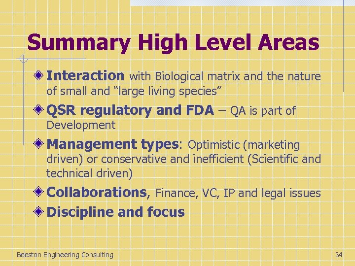Summary High Level Areas Interaction with Biological matrix and the nature of small and