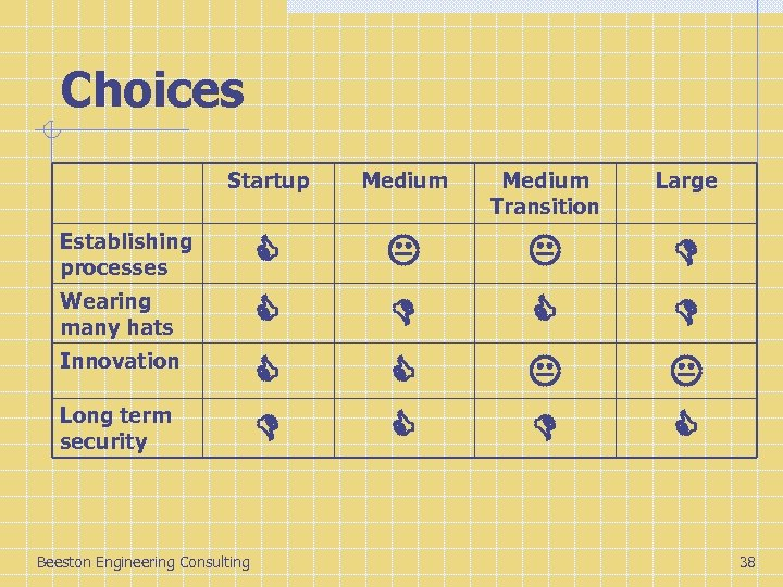 Choices Startup Medium Transition Large Establishing processes Wearing many hats Innovation Long term security