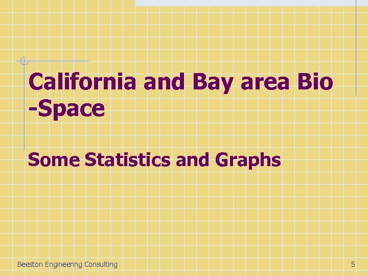 California and Bay area Bio -Space Some Statistics and Graphs Beeston Engineering Consulting 5