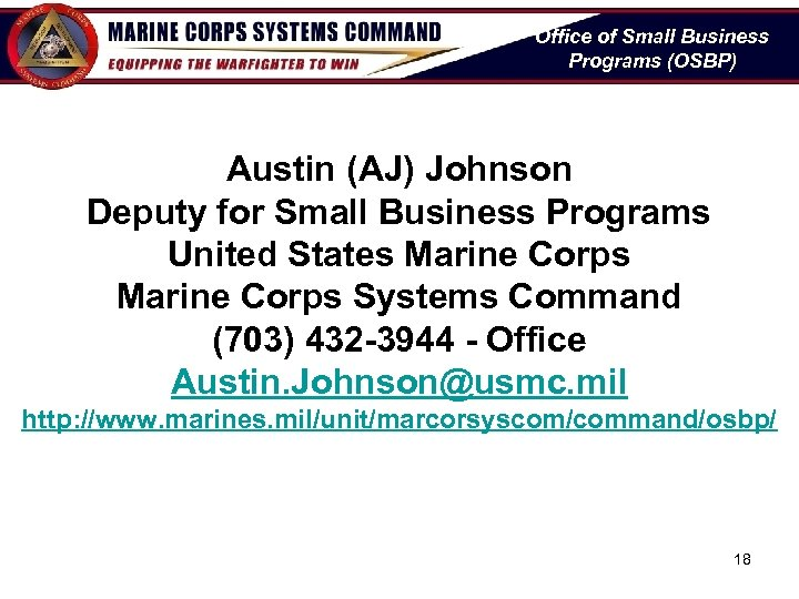 Office of Small Business Programs (OSBP) Austin (AJ) Johnson Deputy for Small Business Programs