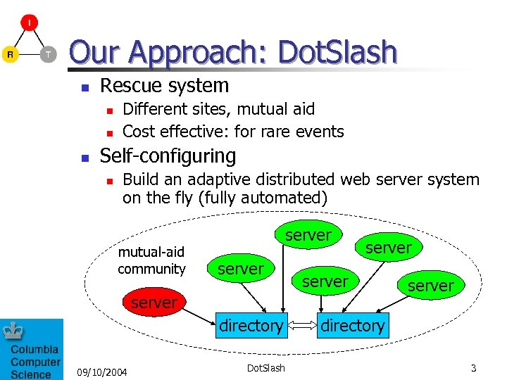 Our Approach: Dot. Slash n Rescue system n n n Different sites, mutual aid