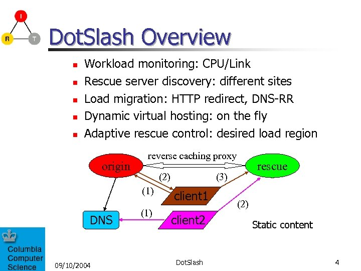 Dot. Slash Overview n n n Workload monitoring: CPU/Link Rescue server discovery: different sites