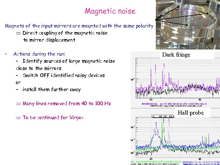 Magnetic noise Magnets of the input mirrors are mounted with the same polarity Direct