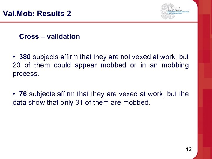 Val. Mob: Results 2 Cross – validation • 380 subjects affirm that they are