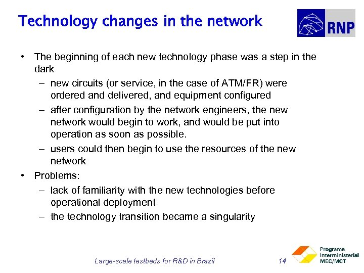 Technology changes in the network • The beginning of each new technology phase was