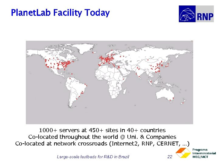 Planet. Lab Facility Today 1000+ servers at 450+ sites in 40+ countries Co-located throughout