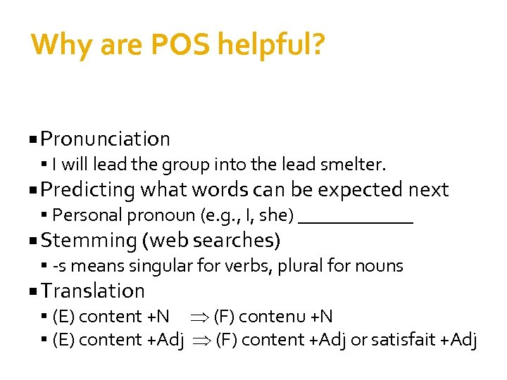 Why are POS helpful? Pronunciation I will lead the group into the lead smelter.