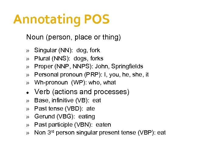 Annotating POS Noun (person, place or thing) » » » Singular (NN): dog, fork