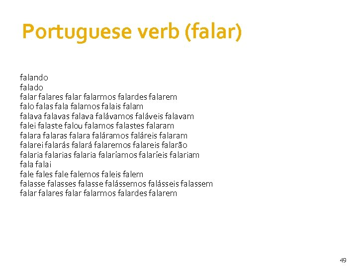 Portuguese verb (falar) falando falares falarmos falardes falarem falo falas falamos falais falam falavas