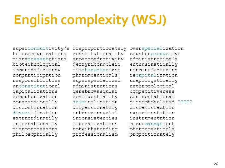 English complexity (WSJ) superconductivity's telecommunications misrepresentations biotechnological immunodeficiency nonparticipation responsibilities unconstitutional capitalizations computerization congressionally