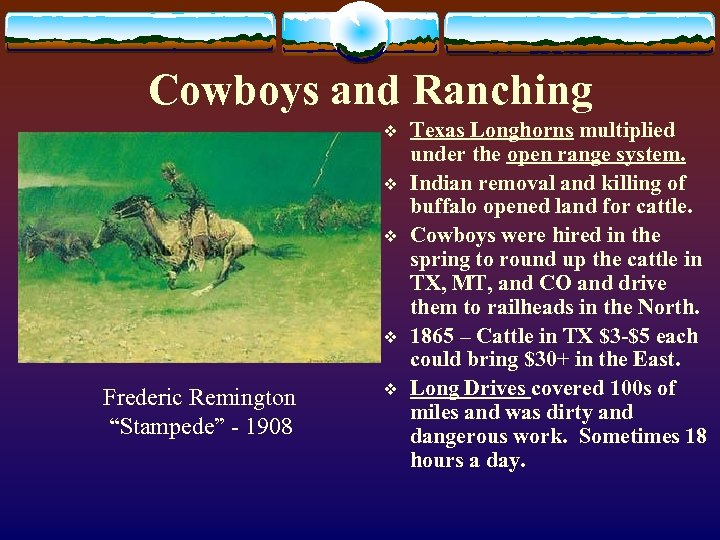 "Cowboys and Ranching v v Frederic Remington ""Stampede"" - 1908 v Texas Longhorns multiplied"