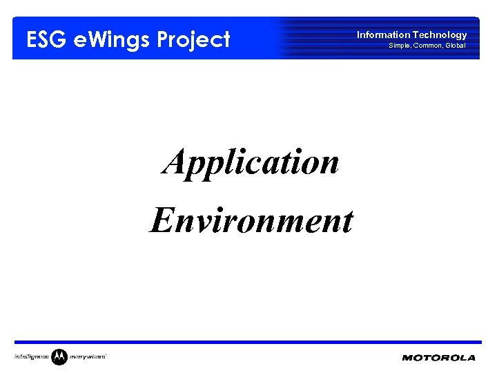 ESG e. Wings Project Application Environment Information Technology Simple, Common, Global