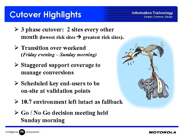 Cutover Highlights Ø 3 phase cutover: 2 sites every other month (lowest risk sites