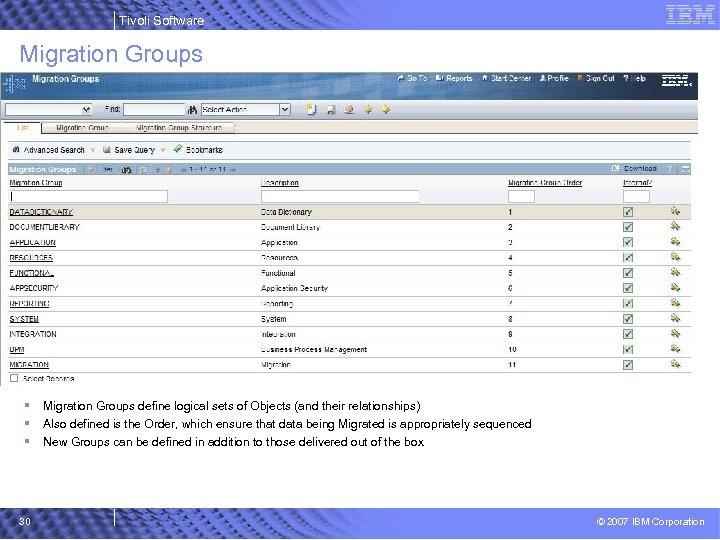Tivoli Software Migration Groups § § § 30 Migration Groups define logical sets of