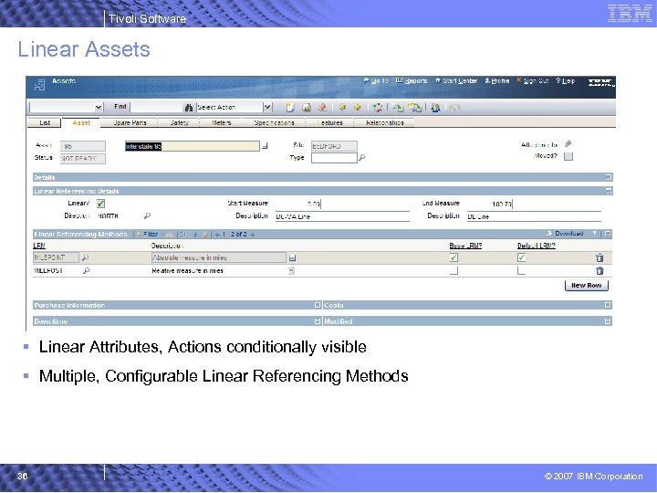 Tivoli Software Linear Assets § Linear Attributes, Actions conditionally visible § Multiple, Configurable Linear