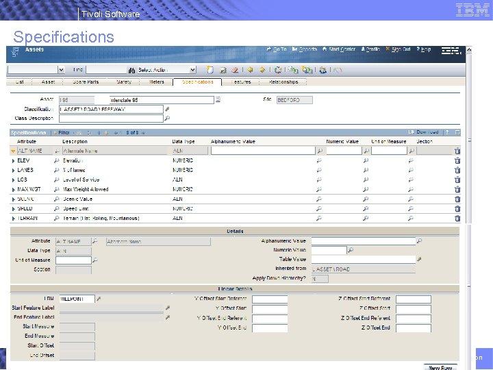 Tivoli Software Specifications 38 © 2007 IBM Corporation