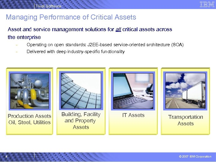 Tivoli Software Managing Performance of Critical Assets Asset and service management solutions for all