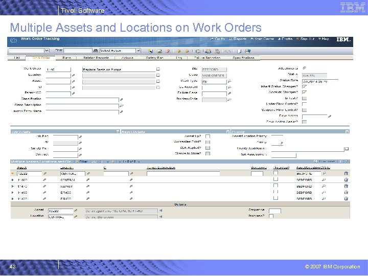 Tivoli Software Multiple Assets and Locations on Work Orders 43 © 2007 IBM Corporation