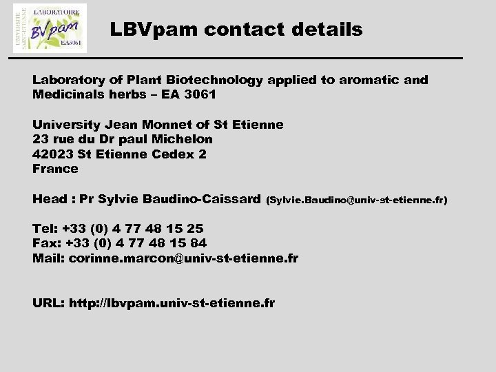 LBVpam contact details Laboratory of Plant Biotechnology applied to aromatic and Medicinals herbs –