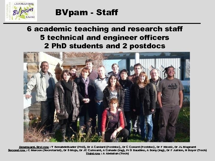 BVpam - Staff 6 academic teaching and research staff 5 technical and engineer officers