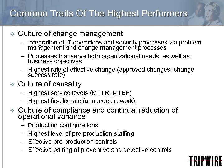 Common Traits Of The Highest Performers v Culture of change management – Integration of