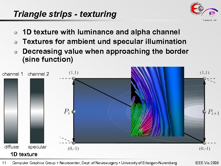Triangle strips - texturing 1 D texture with luminance and alpha channel Textures for