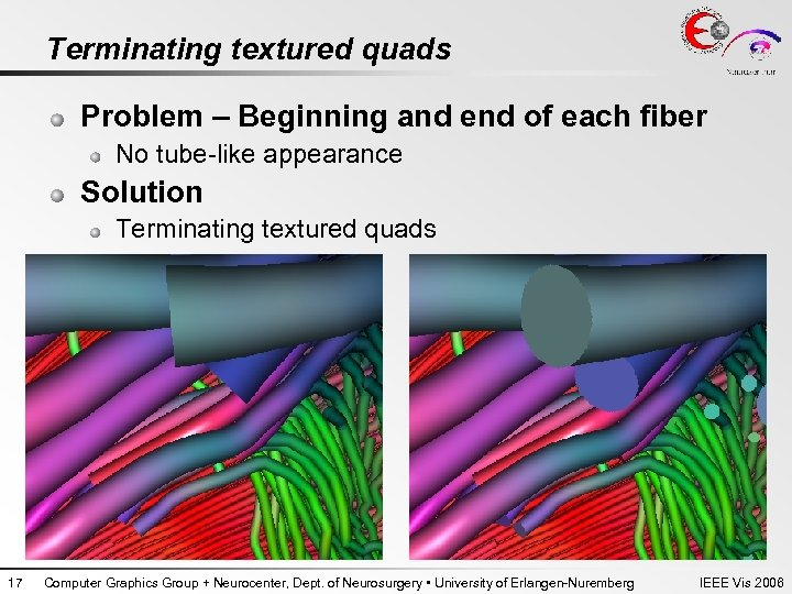 Terminating textured quads Problem – Beginning and end of each fiber No tube-like appearance