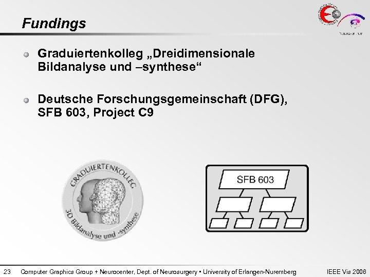 """Fundings Graduiertenkolleg """"Dreidimensionale Bildanalyse und –synthese"""" Deutsche Forschungsgemeinschaft (DFG), SFB 603, Project C 9"""