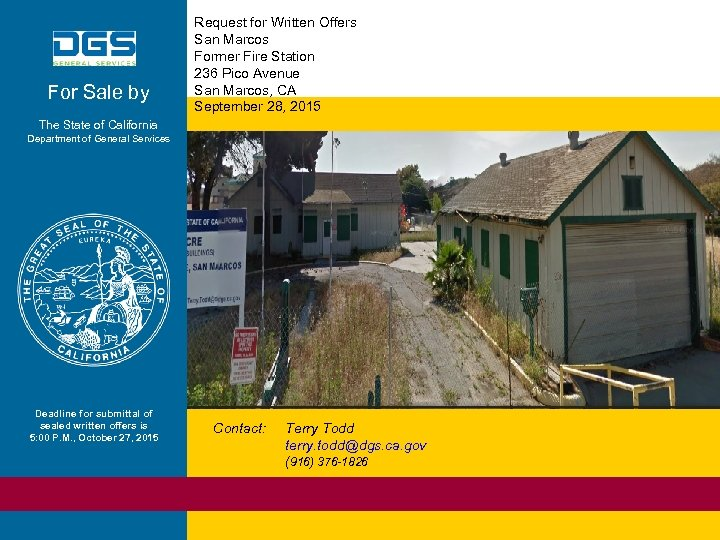 For Sale by Request for Written Offers San Marcos Former Fire Station 236 Pico