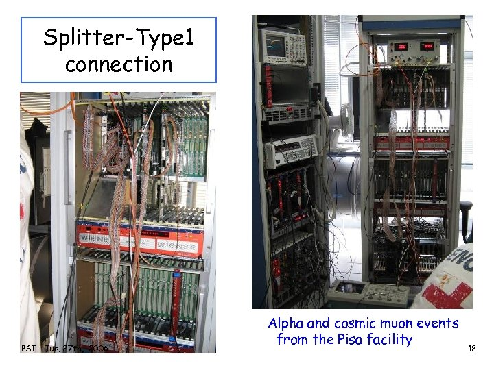Splitter-Type 1 connection PSI - Jun. 27 th, 2006 Alpha and cosmic muon events