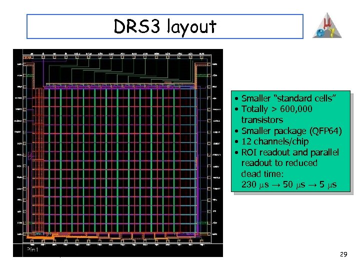 """DRS 3 layout • Smaller """"standard cells"""" • Totally > 600, 000 transistors •"""