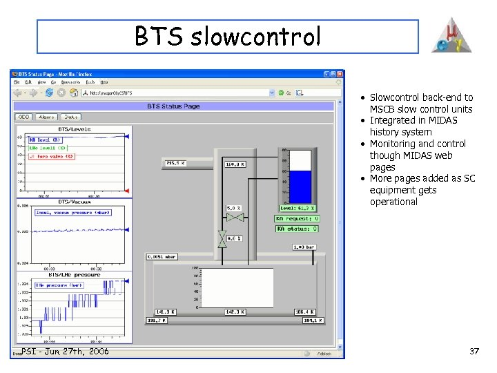 BTS slowcontrol • Slowcontrol back-end to MSCB slow control units • Integrated in MIDAS