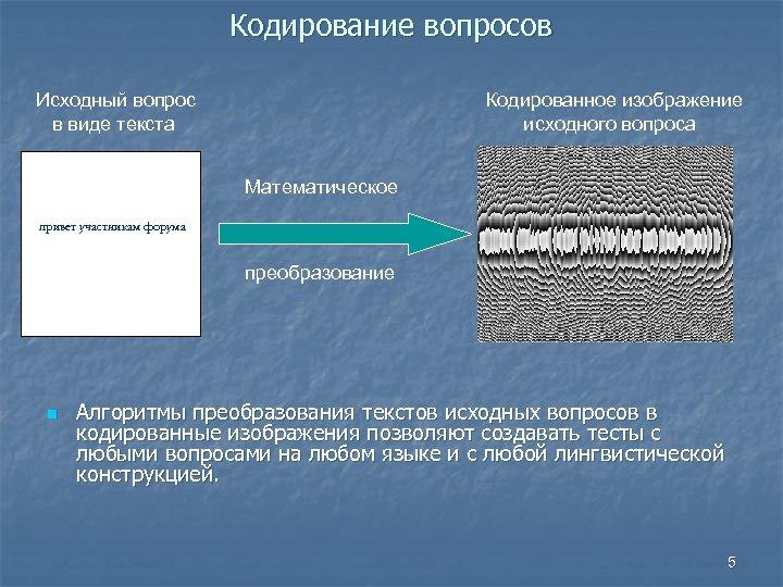 Кодирование вопросов Исходный вопрос в виде текста Кодированное изображение исходного вопроса Математическое привет участникам