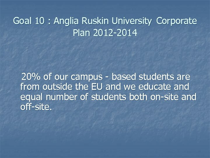 Goal 10 : Anglia Ruskin University Corporate Plan 2012 -2014 20% of our campus