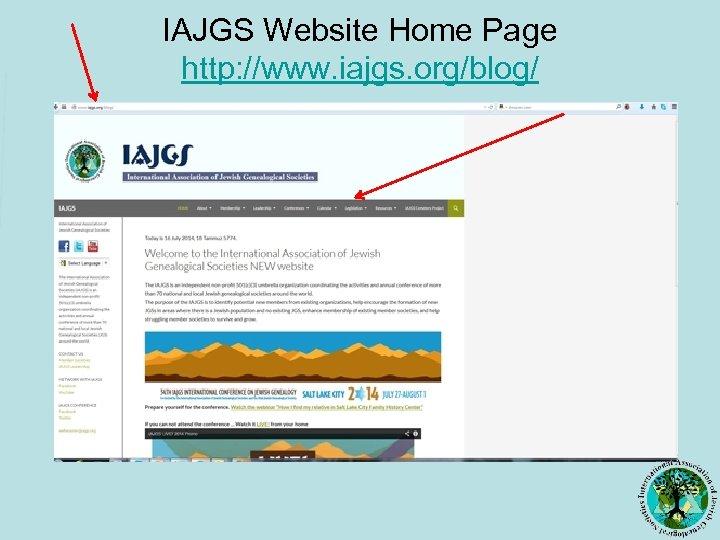 IAJGS Website Home Page http: //www. iajgs. org/blog/