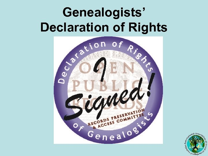 Genealogists' Declaration of Rights