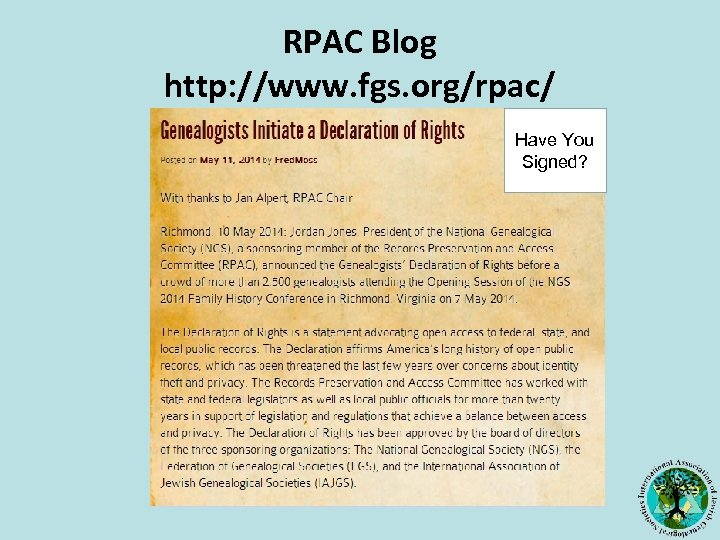 RPAC Blog http: //www. fgs. org/rpac/ Have You Signed?