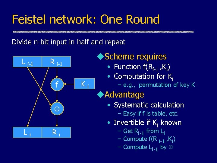 Feistel network: One Round Divide n-bit input in half and repeat L i-1 R