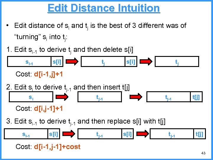 Edit Distance Intuition • Edit distance of si and tj is the best of
