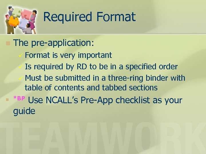 Required Format n The pre-application: ü Format is very important ü Is required by