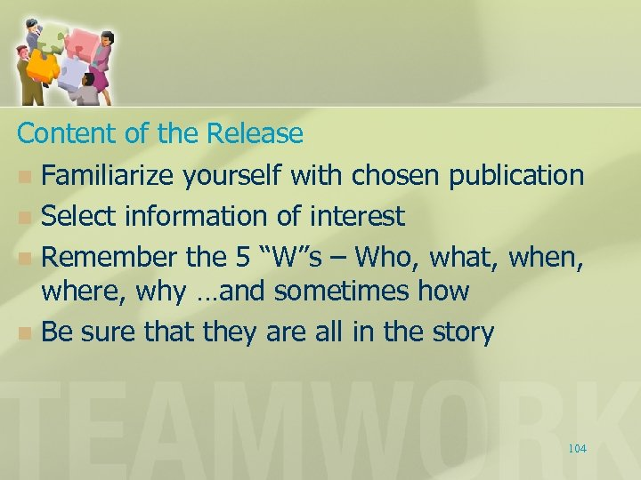 Content of the Release n Familiarize yourself with chosen publication n Select information of