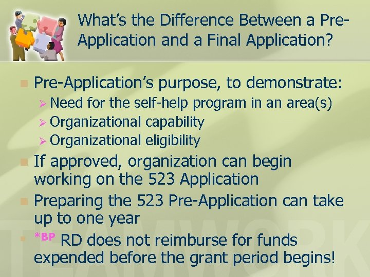 What's the Difference Between a Pre. Application and a Final Application? n Pre-Application's purpose,