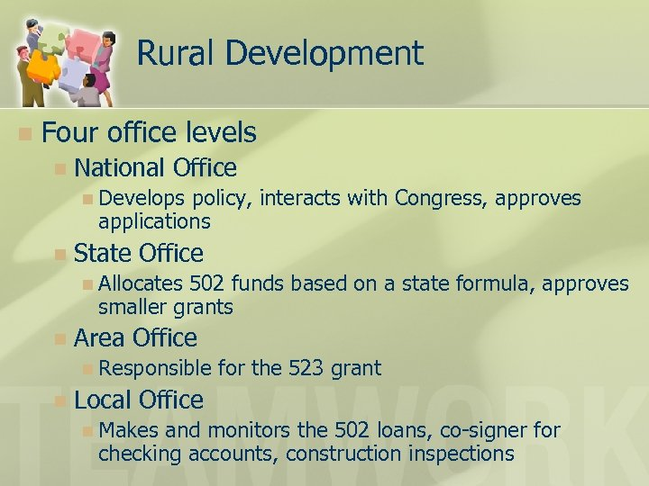 Rural Development n Four office levels n National Office n Develops policy, interacts with